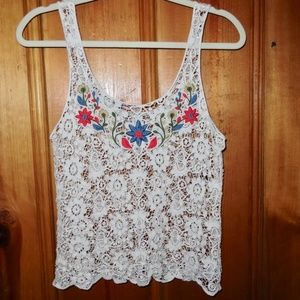Forever 21 Chunky Lace Doiley Tank Top Flowers S/M